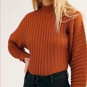 Free People Rust Mad Chill Ribbed Turtleneck NWT L